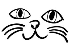 Cat face. Black silhouette of cat face. Meow meow Royalty Free Stock Image