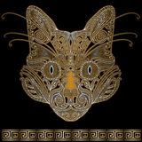 Cat face. Decorated with floral ornaments Stock Images