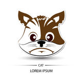 Cat face frown logo and white background  Stock Image