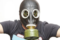 Cat face with gas mask Stock Images