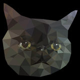 Cat Face Low Poly Geometric negra Fotos de archivo