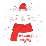 Cat face in Santa Claus hat Royalty Free Stock Images