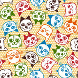 Cat face seamless pattern. Colorful cat face seamless pattern Stock Illustration