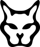 Cat face silhouette black and white logo Royalty Free Stock Photo