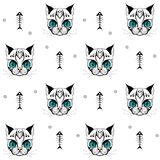 Cat face with skeleton of fish pattern 01 vector illustration