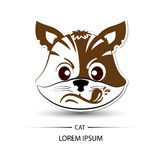 Cat face touchy logo and white background  Stock Image