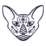 Cat face vector. Sacred animal of ancient Egypt, cat face with Egyptian hieroglyphic symbols. Hand drawn tattoo cat isolated on wh Stock Images