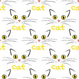 Cat face on white seamless background vector illustration Stock Images