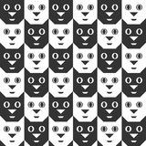 Cat Faces noire et blanche Configuration sans joint Photographie stock