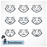 Cat Faces. Vector cats emotions faces isolated on a white background Stock Image