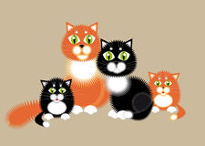 Cat family. Illustration. Red-haired cat, black cat and kittens. Happy family Stock Photos