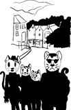Cat Family in The city. Vector Cat Family in The City Street: mother Father sister brother Royalty Free Stock Photography