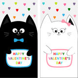 Cat family couple with bow. Flyer poster set. Cute funny cartoon character. Colorful hearts. Happy Valentines day. Greeting card. Stock Images