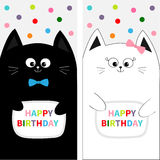 Cat family couple with bow. Flyer poster set. Cute funny cartoon character. Happy Birthday. Greeting card. Flat design. White back Stock Image