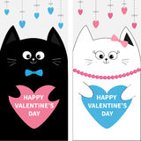 Cat family couple holding blue pink heart shape paper. Flyer poster set. Cute funny cartoon character. Hanging dash line. Happy Va Royalty Free Stock Photo