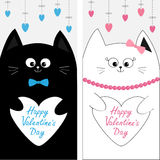 Cat family couple holding white heart shape paper. Flyer poster set. Cute funny cartoon character. Hanging dash line. Stock Photo