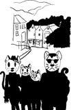 Cat Family i staden Royaltyfri Fotografi