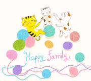 Cat family playing yarn ball vector illustration Royalty Free Stock Photography