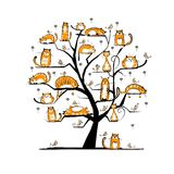 Cat family tree for your design. This is file of EPS10 format Royalty Free Stock Photos