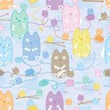 Cat family yarn knit seamless pattern Stock Photos