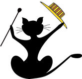 Cat with fancy hat and stick Royalty Free Stock Images