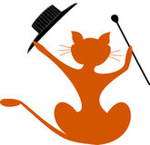 Cat with fancy hat and stick. Drawing of a cat with fancy hat and stick Stock Images