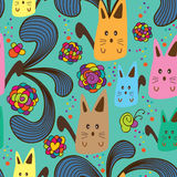 Cat fantasy seamless pattern Stock Image