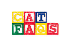 Cat FAQS - Alphabet Baby Blocks on white Royalty Free Stock Images