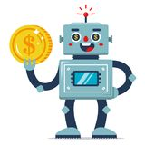 An iron robot holds a coin in his hand royalty free stock photo