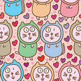 Cat fat couple cute love seamless pattern Stock Photo
