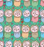 Cat fat cute love horizontal seamless pattern Royalty Free Stock Photography