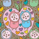 Cat fat cute sweet love fruit seamless pattern Stock Images