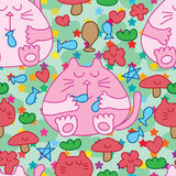 Cat fat happy life seamless pattern Stock Photos