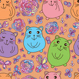 Cat fat like fat mouse seamless pattern Royalty Free Stock Photo