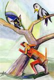 Cat,dog and crow. Cat in fear on tree, dog barks and crow watches royalty free illustration