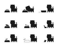 Cat feed action story silhouette icons set Royalty Free Stock Image