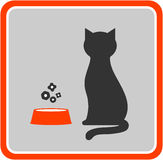 Cat and feed icon Royalty Free Stock Photos