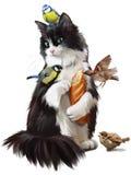 Cat feeding birds. Watercolor painting Royalty Free Stock Photo