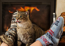 Cat and feet in front of the fireplace Royalty Free Stock Image