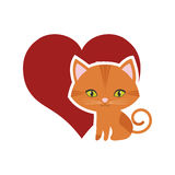 cat feline curious small red heart Royalty Free Stock Photography