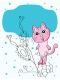 Cat feminine card Stock Image