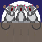 Cat Fence Trio. Three cats on a fence at night putting on a performance Royalty Free Stock Photo