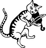 Cat and the Fiddle. Simple black and white illustration of a cat playing on a fiddle Royalty Free Stock Photos