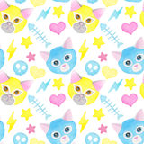 Cat fighter. Cute watercolor seamless pattern Stock Images