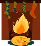 Cat At Fireplace Royalty Free Stock Photos