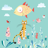 Cat and Fish. Funny cat with a fish on a blue background of plants and birds Royalty Free Stock Photo