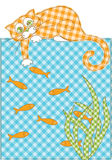 Cat and fish. Cat trying to catch gold fish in the lake. Vector illustration Stock Image