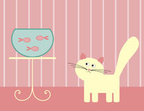 Cat and fish Stock Images