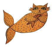 Cat Fish. Hand drawn illustration of a cat fish, lovingly holding a salmon Royalty Free Stock Photos