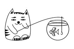 Cat and fish in the aquarium. A cat catches fish. Funny cartoon picture. Black and white Vector graphics Royalty Free Stock Photography